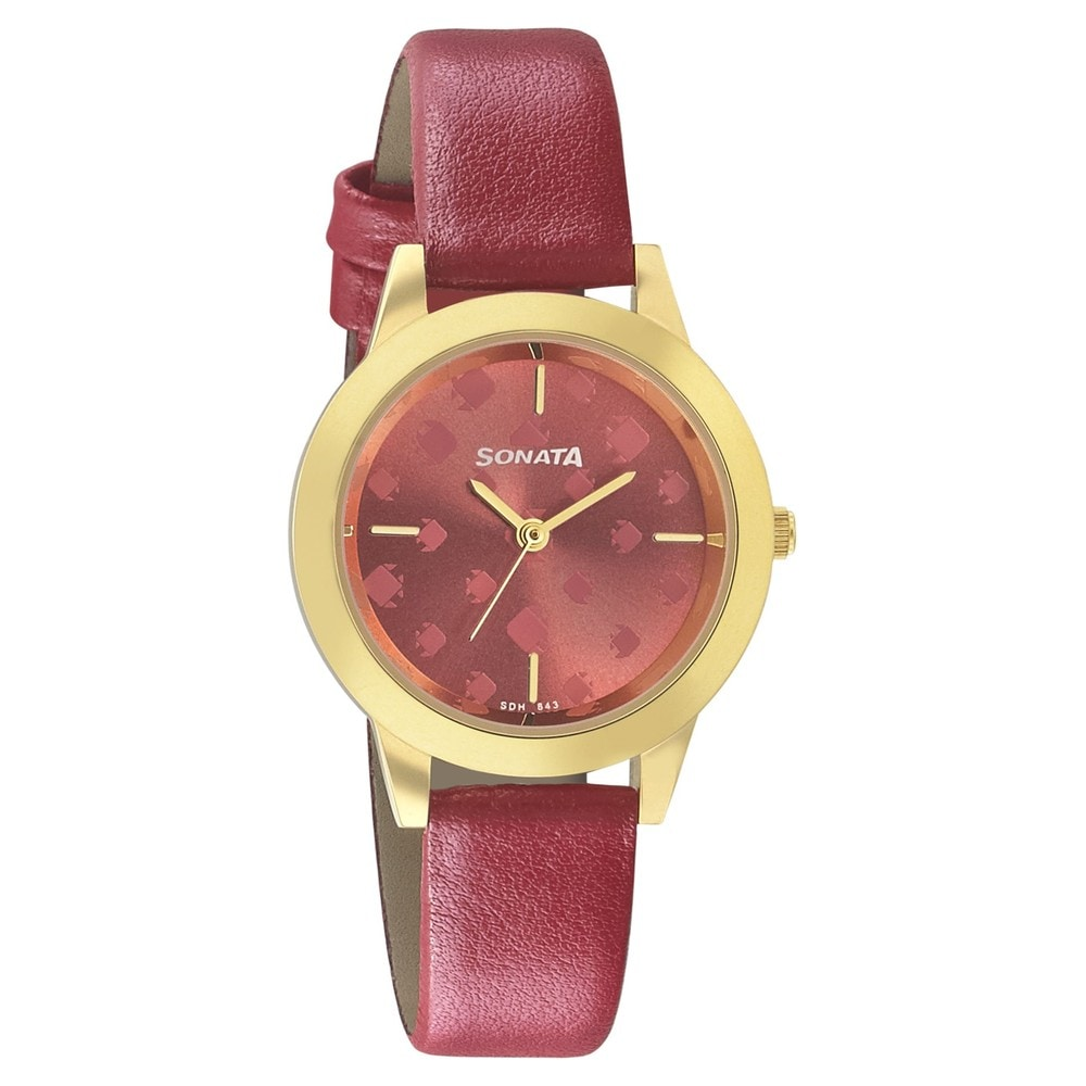 7f1d093f7c6 Buy Sonata Pink Round Dial Leather Strap Analog Watches For Women 87019YL03  Buy Online at Best Price in India   Titan.co.in