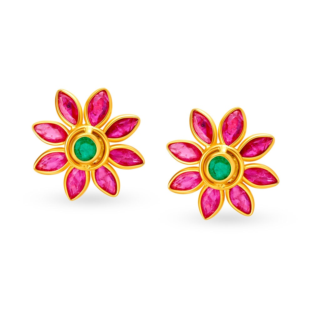 0fbec56ea 18KT Ruby and Emerald Floral Studs | Tanishq