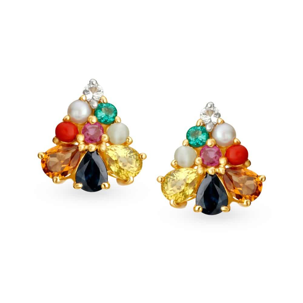 18KT Gold Diamond and Navratna Stud Earrings