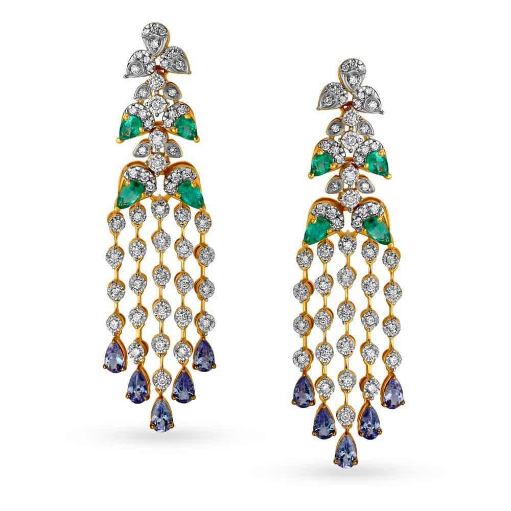 Emerald Gold Earrings | Dhanalakshmi Jewellers