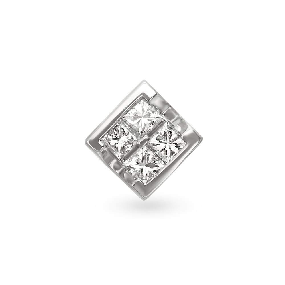 7602f08a5 18KT White Gold Single Stud Earring | Tanishq