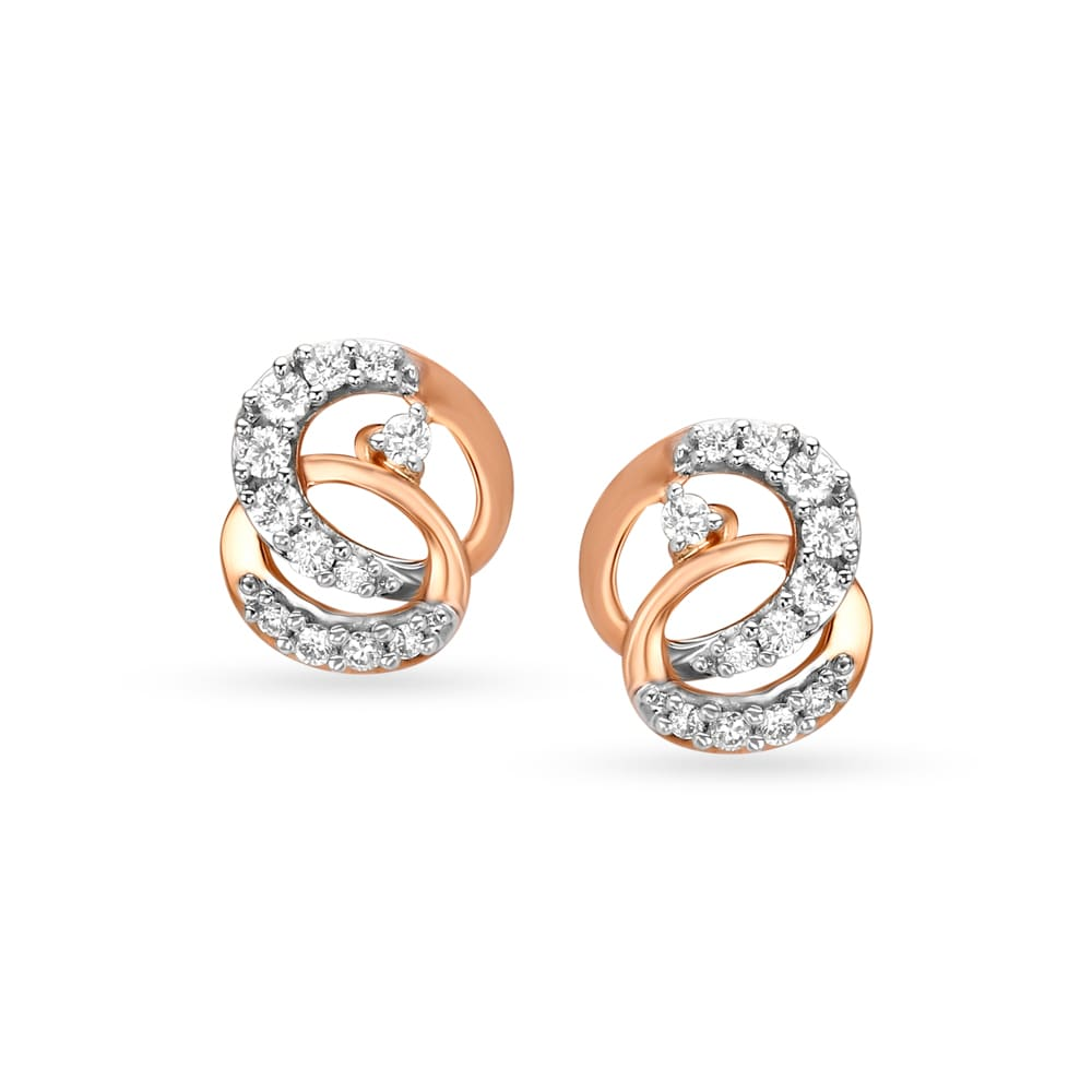 31f7ba5ea2d22 Tanishq Mangalam 18KT Rose Gold Diamond Stud Earrings with Entwined Oval  Design