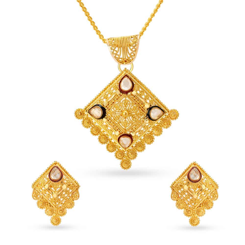 Buy Gold Diamond Pendant Set Shop 22kt Gold Pendant Earrings