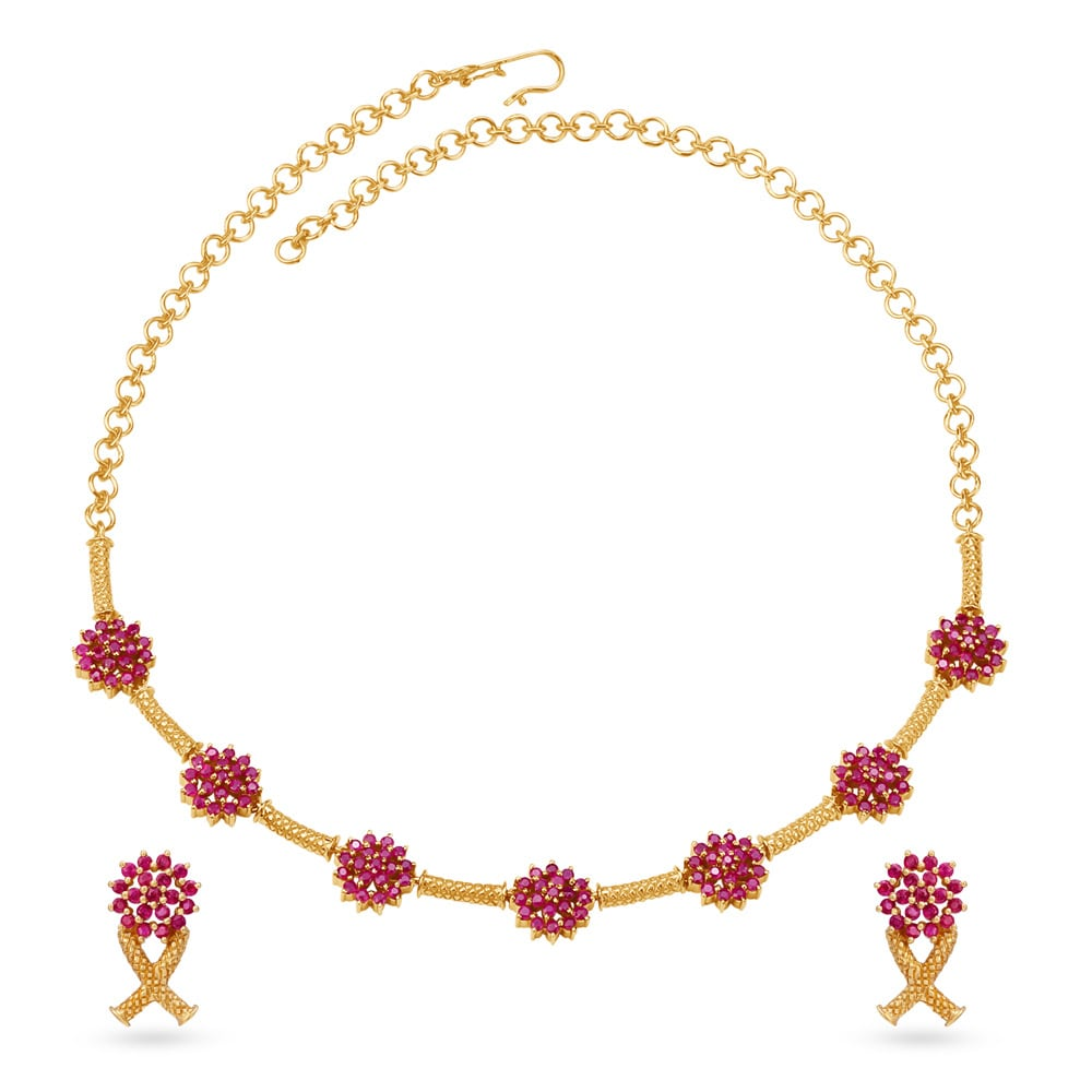 Buy Tanishq 22kt Gold And Ruby Neckwear And Earrings Set In Lotus