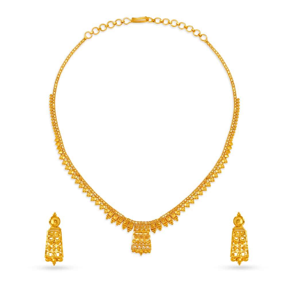 22kt Gold Neckwear Earrings Set Tanishq