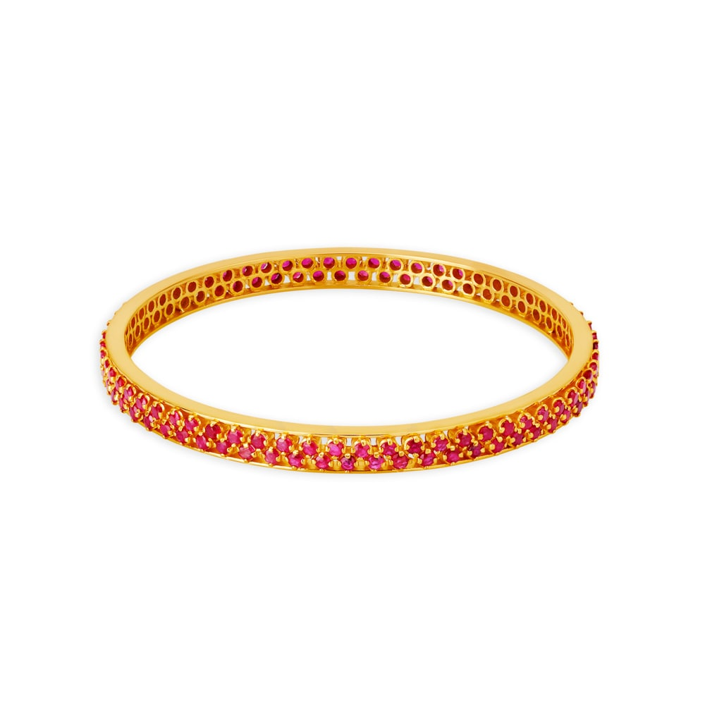 74c10ac6655 22KT Gold and Ruby Bangle | Tanishq