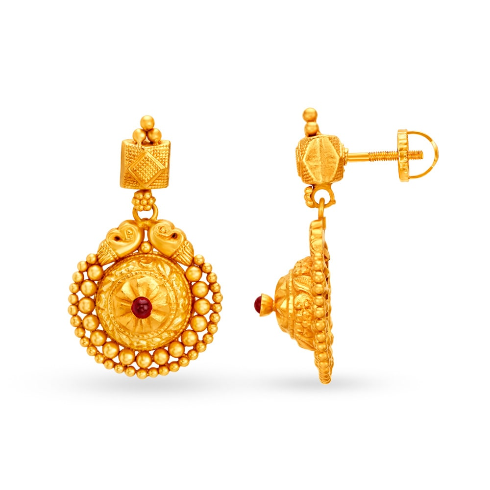 22 Karat Gold Drop Earrings Tanishq