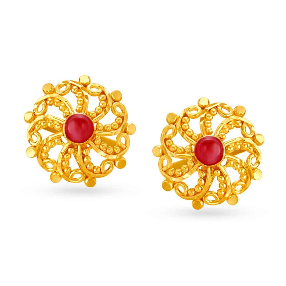 Tanishq Earrings Buy Gold Diamond Earrings For Women Girls Online