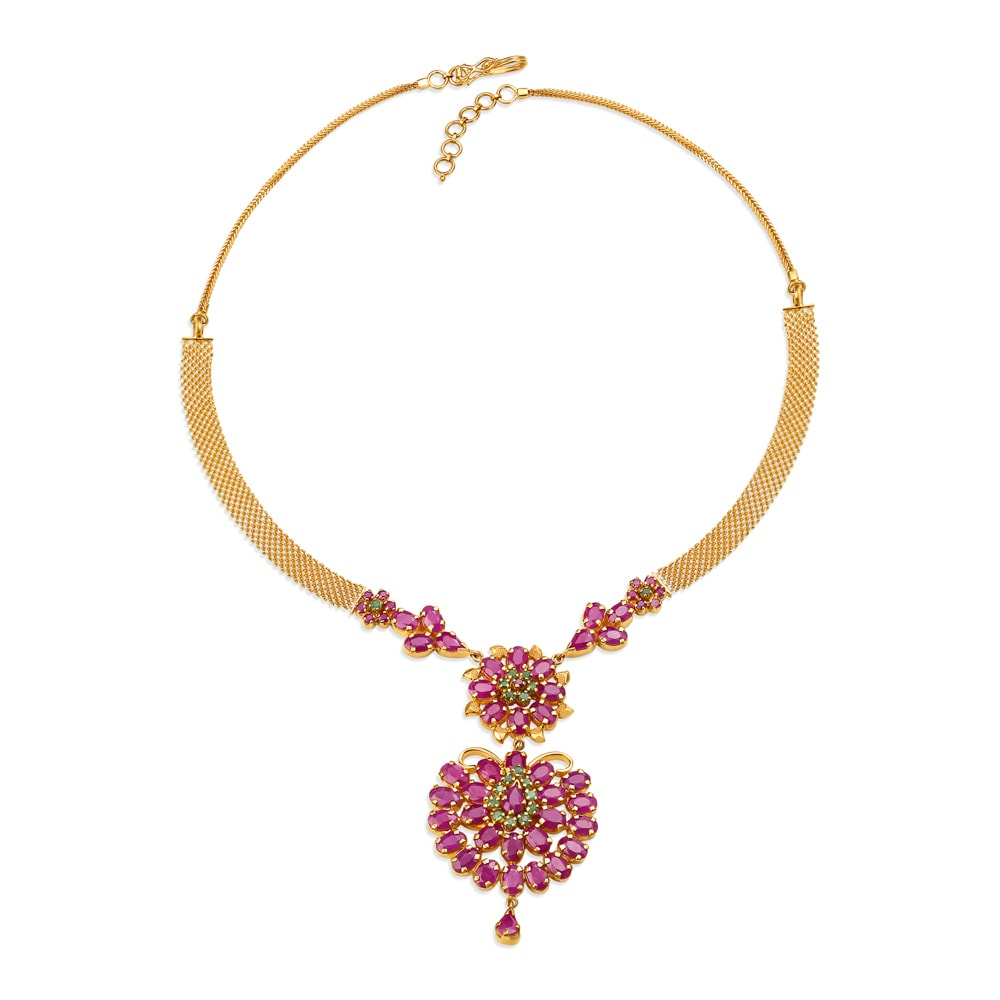 22KT Gold Ruby and Emerald Neckwear