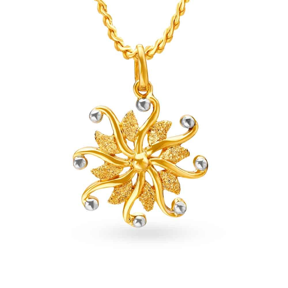 22kt Yellow Gold Floral Pendant Tanishq
