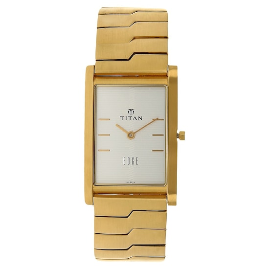 Edge Silver Dial Golden Stainless Steel Strap Watch