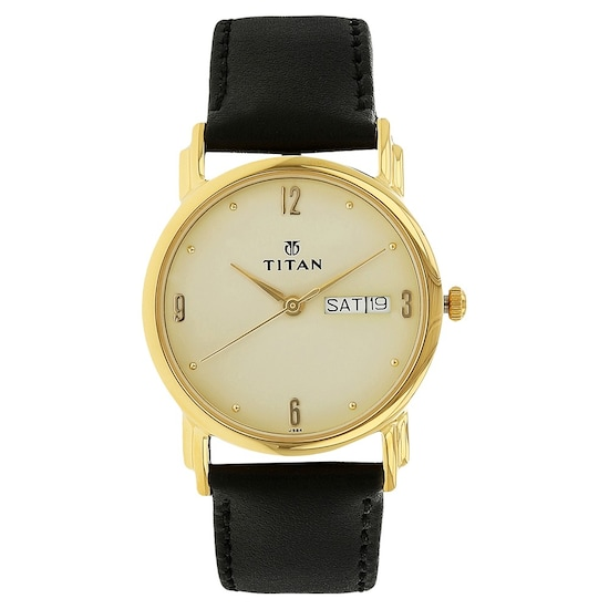 fe180289a6f Buy Titan Champagne Dial Leather Strap Analog with Day and Date Watch For  Men 1445YL05 Buy Online at Best Price in India   Titan.co.in