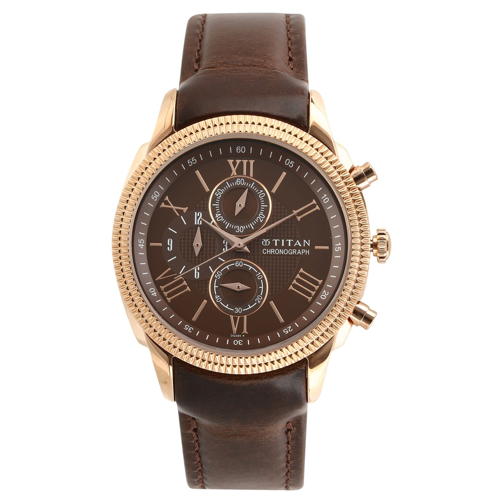 f7456712f9a Buy Titan Brown Round Dial Leather Strap Chronograph Watches For Men  1489WL02 Buy Online at Best Price in India   Titan.co.in