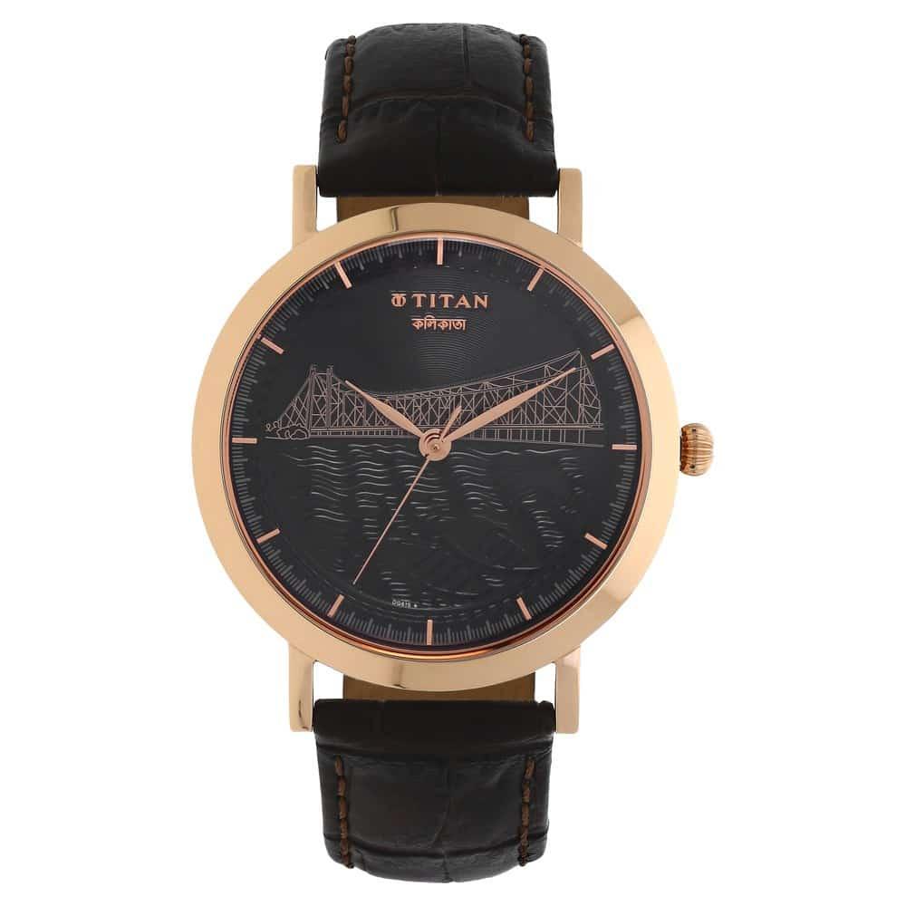 Buy Titan Black Round Dial Leather Strap Analog Watches