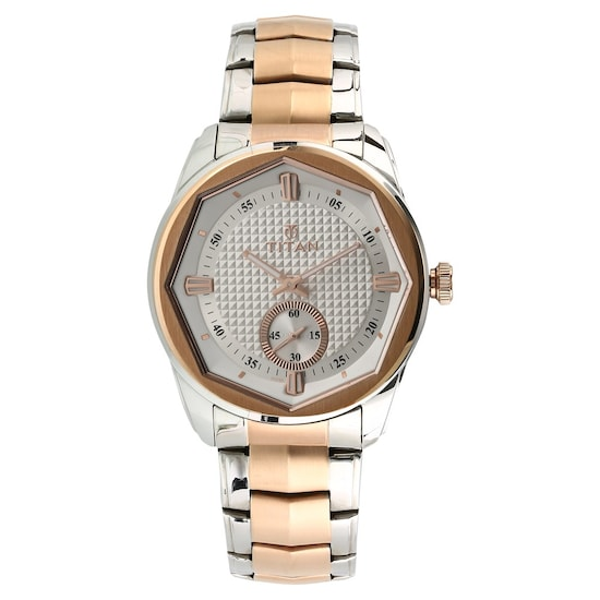 White Dial Two Toned Stainless Steel Strap Watch