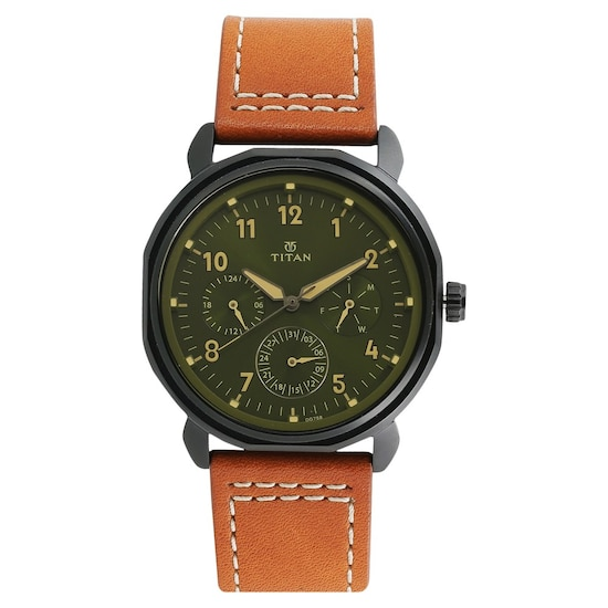 Buy Titan Green Round Dial Stainless Steel Strap Multifunction