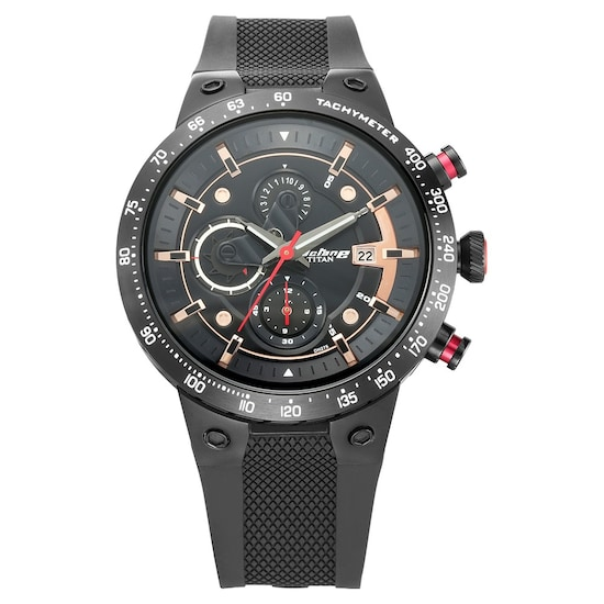 1cb876d0e8e Buy Titan Octane Black Round Dial PU Strap Chronograph Watches For Men  1761KP02 Buy Online at Best Price in India   Titan.co.in