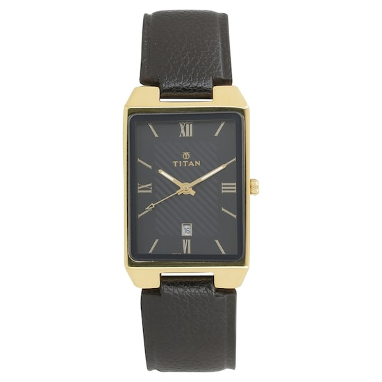 37b2bc381ff Buy Titan Black Rectangle Dial Leather Strap Analog with Date Watches For  Men 1777YL01 Buy Online at Best Price in India   Titan.co.in