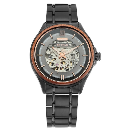 9da2788c90d Buy Titan Black Round Dial Metal Strap Automatic Watches For Men 1793KM02  Buy Online at Best Price in India   Titan.co.in