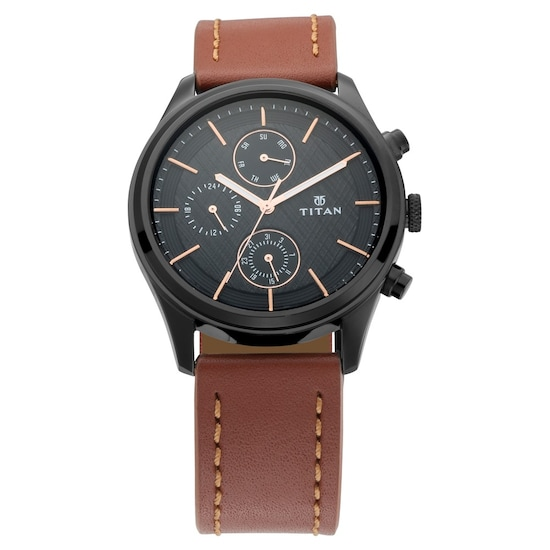 978e6dfc8 Buy Titan Workwear Black Dial Leather Strap Multifunction Watch For Men  1805NL01 Buy Online at Best Price in India   Titan.co.in
