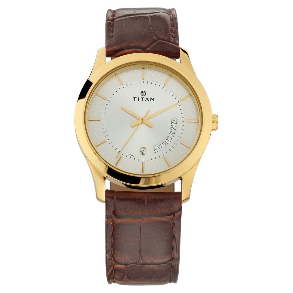 8e66cfe9b Buy Titan Silver Dial Leather Strap Analog Watch For Men 1740WL04 ...