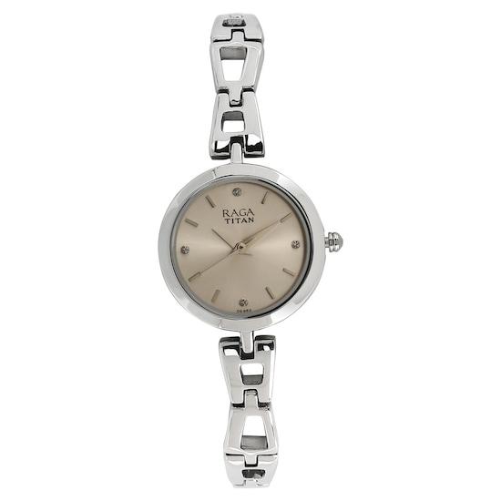 Buy Titan Raga White Round Dial Metal Strap Analog Watches For ...