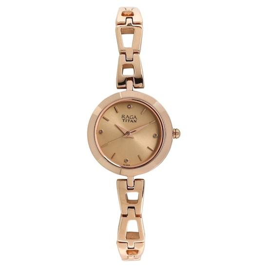 c87a8576af757 Raga Beige Dial Rose Gold Metal Strap Watch