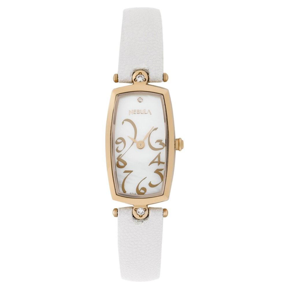 73737230c Buy Nebula 18KT Gold Mother Of Pearl Dial WhiteLeather Strap Analog ...