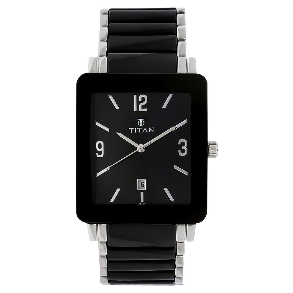 03157e27819 Buy Titan Black Rectangle Dial Steel   Ceramic Strap Analog with Date  Watches For Men NK90013SD02 Buy Online at Best Price in India   Titan.co.in