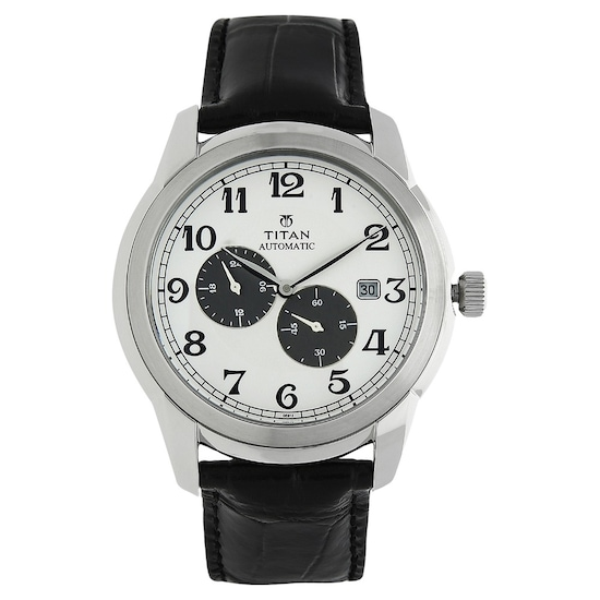 0c9268b4b Buy Titan White Round Dial Leather Strap Automatic Watch For Men  NH90033SL01J Buy Online at Best Price in India   Titan.co.in