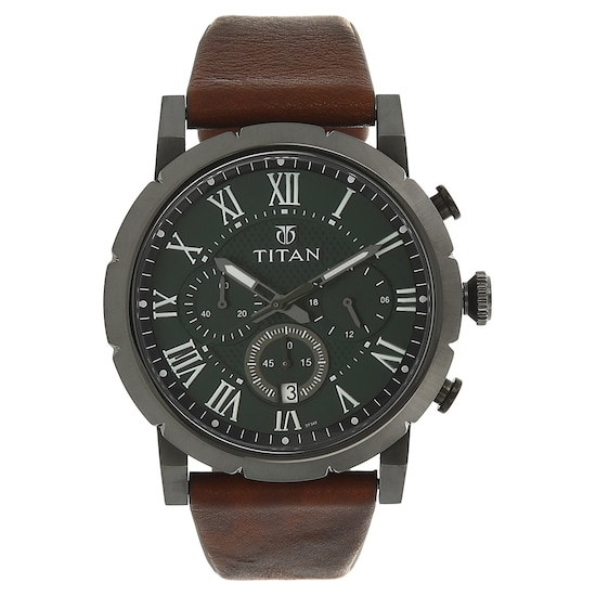 Buy Titan Green Round Dial Leather Strap Analog With Date Watches