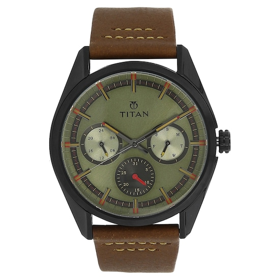 Buy Titan Green Round Dial Leather Strap Multifunction Watches For