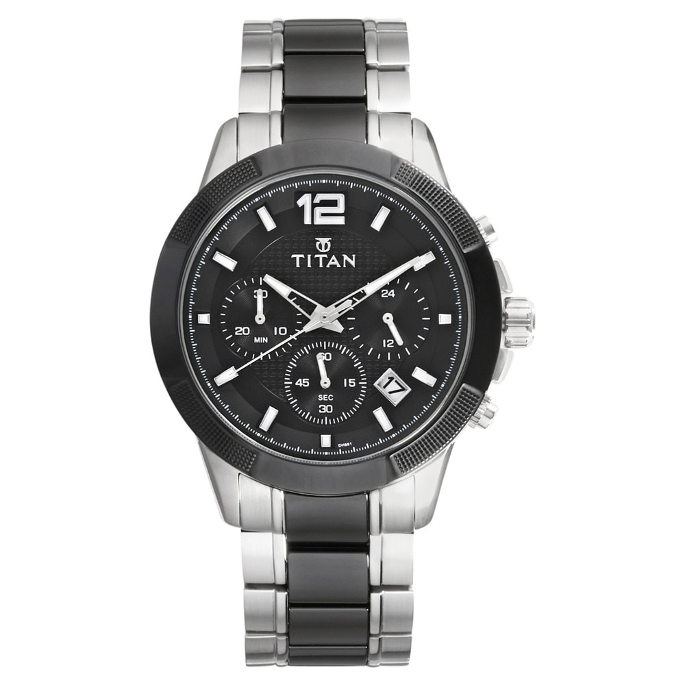 f6806ddc98e Buy Titan Black Round Dial Steel   Ceramic Strap Chronograph Watches For  Men 90090KD01 Buy Online at Best Price in India   Titan.co.in