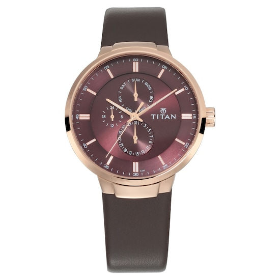 963e598bd Buy Titan Workwear Maroon Dial Leather Strap Multifunction Watch For Men  90093WL01 Buy Online at Best Price in India : Titan.co.in | Titan