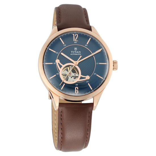 315ab88bb HOME · MEN · Automatic; Blue Dial Automatic Watch with Leather Strap. Prev.  90111WL01_P ANGLEIMAGES_FULLIMAGE 1
