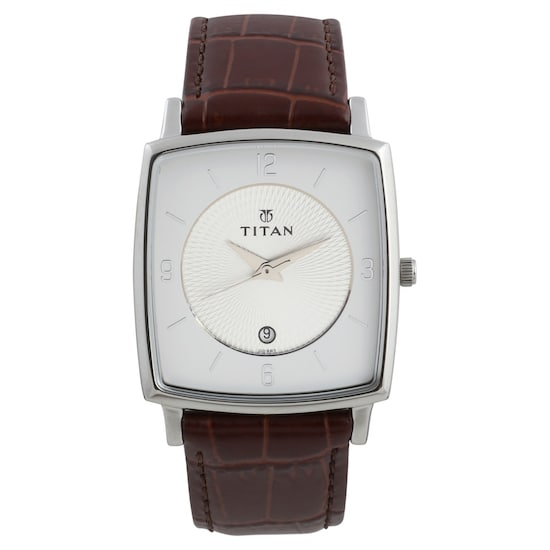 Silver Dial Brown Leather Strap Watch