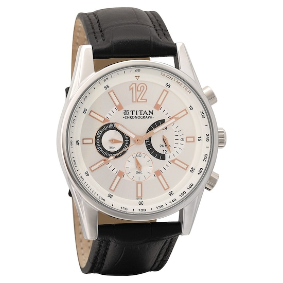 8d07539a8 Buy Titan Silver Round Dial Leather Strap Chronograph Watches For Men  NK9322SL01 Buy Online at Best Price in India : Titan.co.in | Titan