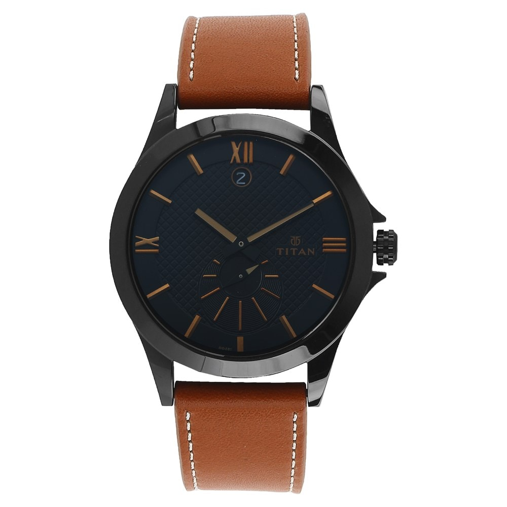 49380328c Buy Titan Workwear Black Dial Leather Strap Multifunction Watch For ...