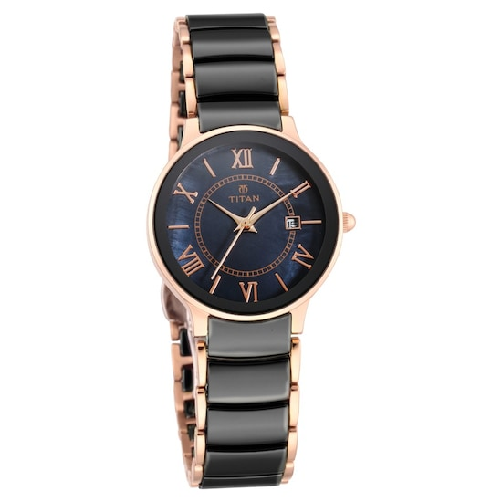 Buy Titan Black Round Dial Steel Ceramic Strap Analog With Date Watches For Women 95016wd01 Buy Online At Best Price In India Titan Co In Titan