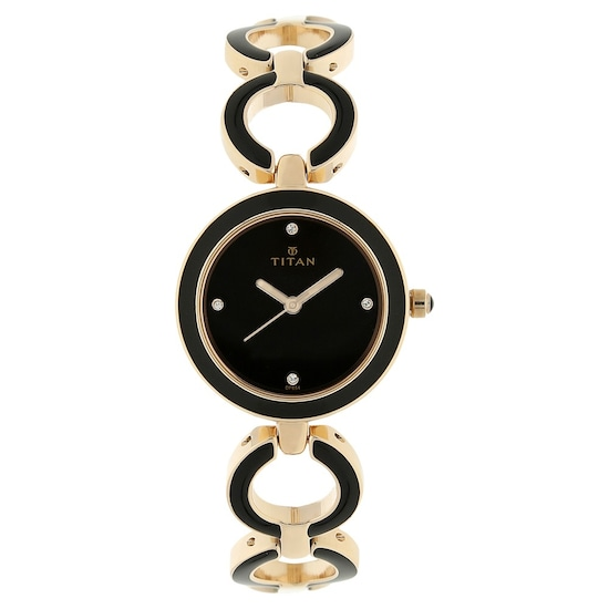 Buy Titan Black Round Dial Metal Strap Analog Watches For Women Nk95036wm01 Buy Online At Best Price In India Titan Co In Titan