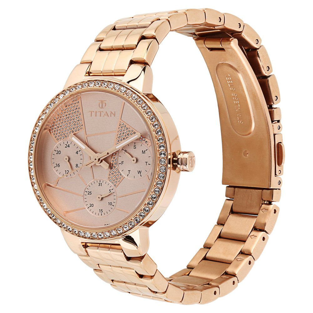 f6b9f2ad34 Buy Titan Rose Gold Round Dial Stainless Steel Strap Multifunction Watches  For Women 95058WM02 Buy Online at Best Price in India : Titan.co.in   Titan