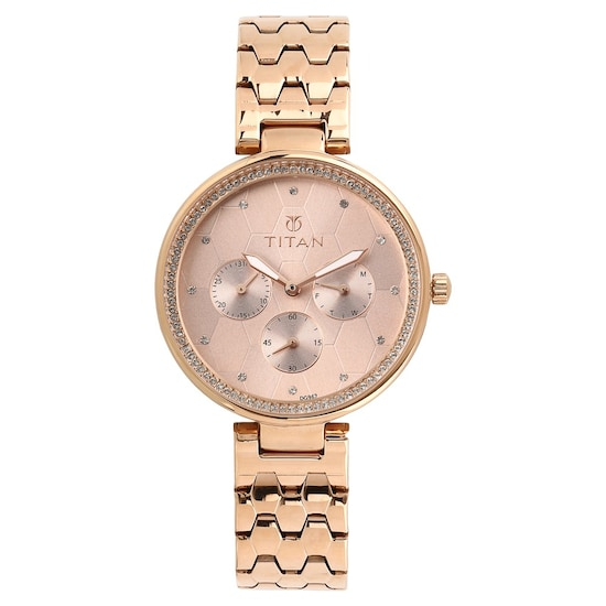 Buy Titan Golden Round Dial Stainless Steel Strap Multifunction Watches For Women 95059wm01 Buy Online At Best Price In India Titan Co In Titan