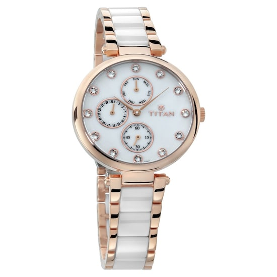 Buy Titan White Round Dial Steel Ceramic Strap Multifunction Watches For Women 95062wd02 Buy Online At Best Price In India Titan Co In Titan