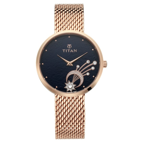 ab995131434 Buy Titan Blue Round Dial Stainless Steel Strap Analog Watches For Women  95083WM02 Buy Online at Best Price in India   Titan.co.in