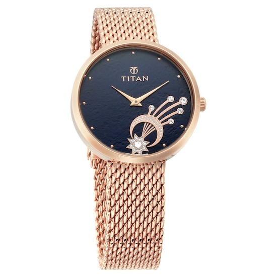 Buy Titan Blue Round Dial Stainless Steel Strap Analog Watches For Women 95083wm02 Buy Online At Best Price In India Titan Co In Titan
