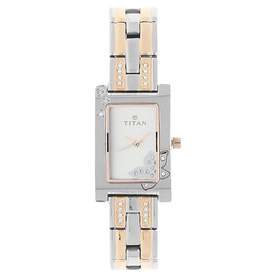 buy titan silver rectangle dial metal strap analog watches