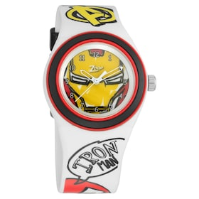ed00a4184 Iron Man Zoop Dial Analog Watch with white Plastic Stra.