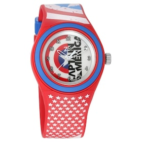 475142654 Captain America Red Dial Analog Watch with Red Plastic .