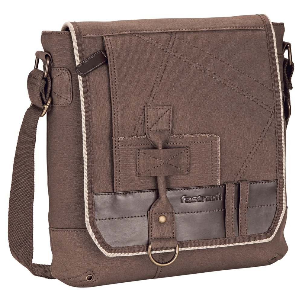 Buy Fastrack Canvas Brown Sling Bag for Men A0420CBR01 At Best ...