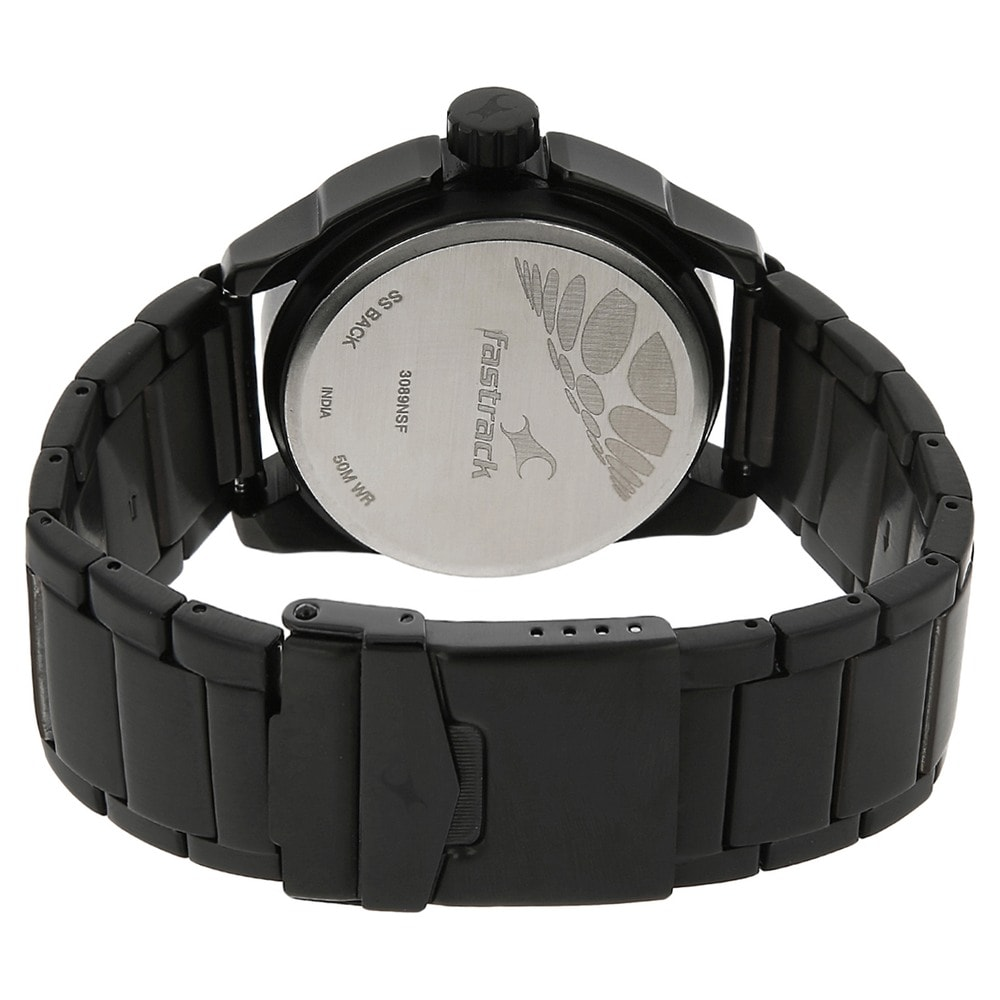 fastrack analog black watch for men id ng3089nm01c buy